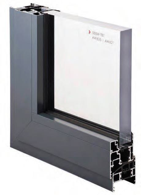 Techincal Drawing of ALUK 58 BW Aluminium Windows, London